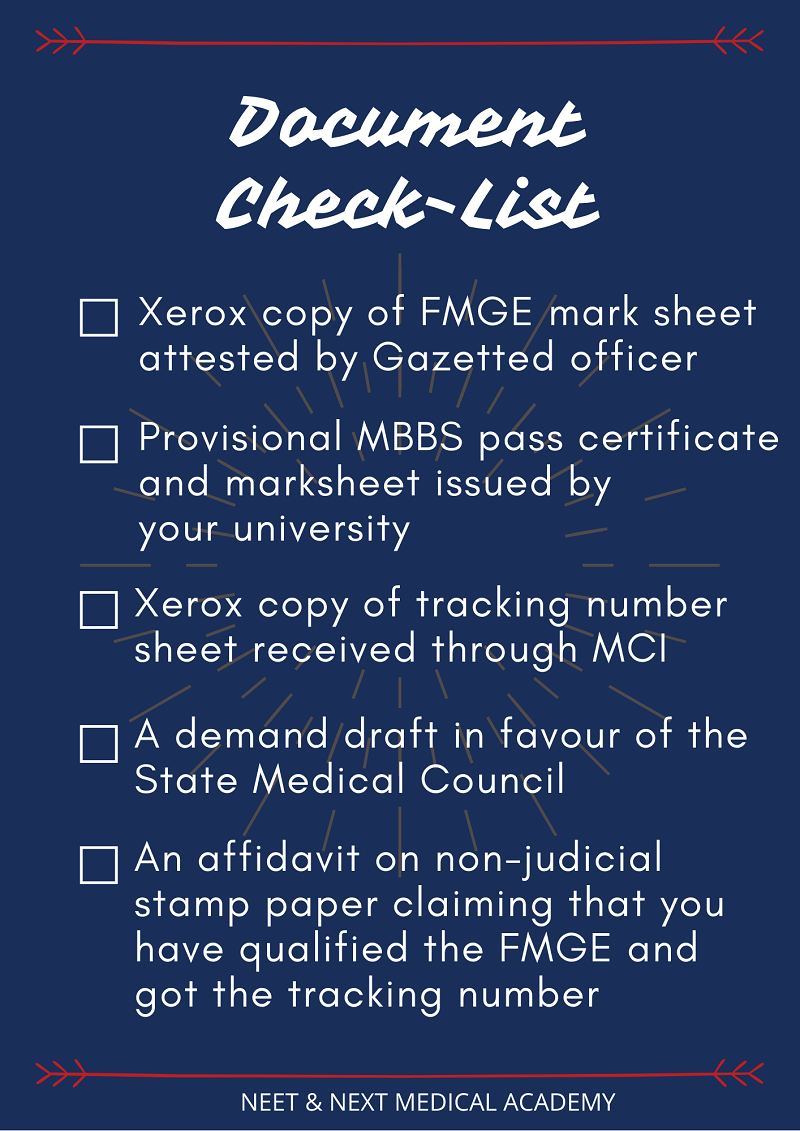 What after FMGE Checklist | NNMA